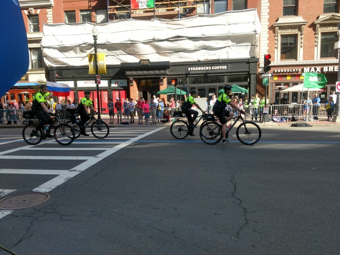 Boston Police officers biking