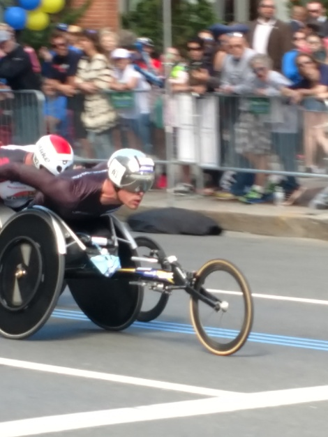 Men's wheelchair racers on Boylston Street