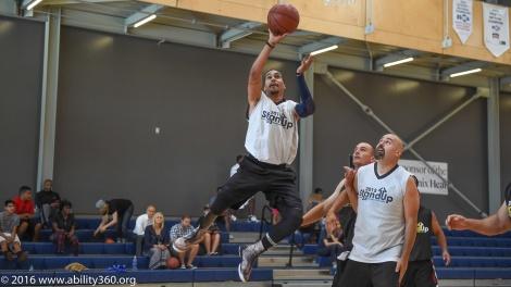 Amputee basketball shot