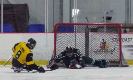 Mighty Penguins shot on goal saved by Shamrocks